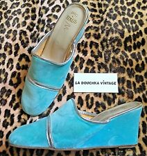 French 1950s Wedges Mules Slippers~Aqua Blue Velvet~Silver Leather Trims~New~6.5
