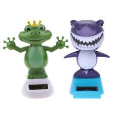 Solar Powered Bobble Head Dancing Toys Office Desk Car Decor Frog + Shark