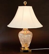 LARGE CUT CRYSTAL GLASS AND BRASS BASE GINGER JAR STYLE TABLE LAMP