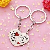 2Pcs/Set Heart Matching Key Ring Keychain Best Sister Couple Jewelry Gift