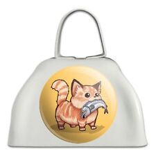 Kawaii Cute Cat with Fish in Mouth White Metal Cowbell Cow Bell Instrument