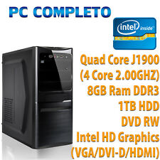 PC FISSO COMPUTER DESKTOP WINDOWS 10 ASSEMBLATO COMPLETO INTEL QUAD CORE 8GB 1TB