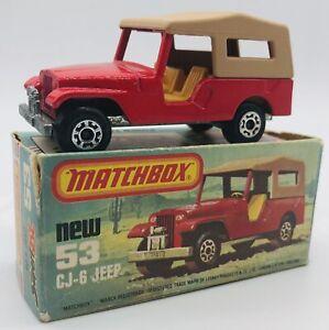 Matchbox Superfast Lesney CJ-6 Jeep #53 IN Boîte Vintage