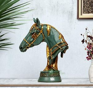 "12"" Handmade Horse Head Statue Stone Finish Animal Figurine Gift Green"