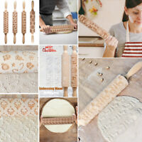 Lotus Wood Christmas Print Wooden Rolling Pin Pastry Chapati Cooking Baking Tool
