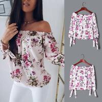 Women Summer Chiffon Off Shoulder Floral Shirt Loose T Shirt Casual Tops Blouse