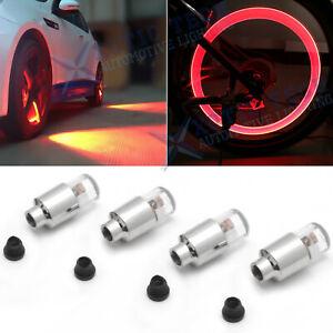 4pcs Red LED Tyre Tire Air Valve Stem Cap Flashing Lights Accessories Universal