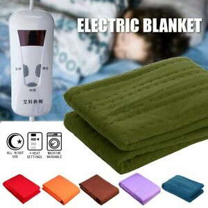 59x29'' Twin Size Electric Heated Flannel Blanket Temperature Timing Controllers