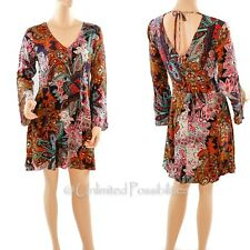Dotti Paisley Long Sleeves Deep V-neck Dress Size 12 With Tags