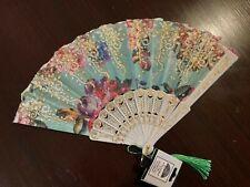 Folding Hand Fan, Beautiful Blu/Light Green