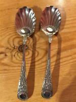 Pair Vintage EPNS Silver Plate Decorative Shall Design Condiment Spoons