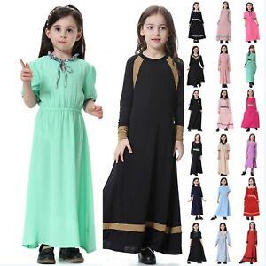 Kids Baby Girls Muslim Long Sleeve Dress Abaya Kaftan Prayer Islamic Maxi Dress