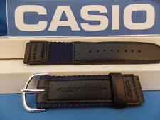 Casio Watch Band W-94 HF blue/Black Nylon Mesh/Leathr 18mm Men Illuminator Strap