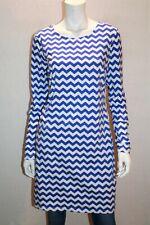 MIX Brand Dazzle Blue Chevron Print Long Sleeve T-Shirt Dress Size M BNWT #SI43