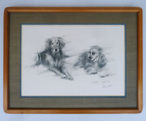 Original ALDO LUONGO charcoal DRAWING sketch 2 DOGS 1-of-a-kind SIGNED framed!