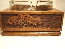 New listing Ashtray Laser Engraved Wood Base with Glass Ashtray Lasercraft @8