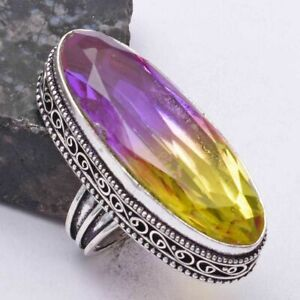 Ametrine Ethnic Handmade Antique Design Ring Jewelry US Size-6.75 AR 40544