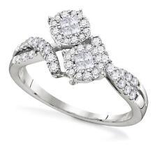 14K or Blanc Diamant Bague Grappe Anniversaire Ou Alliance .50ct
