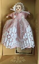 Heidi Ott Baby Doll In Long Pink & White Dress, Miniature Collectible