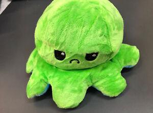 Reversible Flip Octopus Soft Plush Toy Stuffed Animal Stuffies - Green/Blue