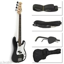 Black Electric Bass Guitar Full 4 String Case Amp Cord Bag Strap Beginners Frets