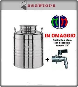 Contenitore Bidone Fusto Olio Acciaio Inox 50/30/20/15/10 litri MADE IN ITALY
