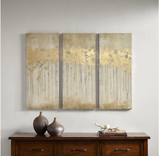 Canvas Wall Art 3 Piece Panel Set Gold Abstract Painting Modern Contemporary