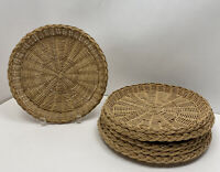 Camping Picnic Wicker Rattan Natural Color Woven Paper Plate Holders Set of 6!