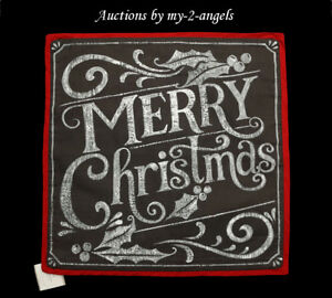 NWT Pottery Barn Holiday MERRY CHRISTMAS Pillow Cover 20X20 *Chalkboard SOLD OUT