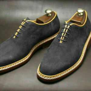 Handmade Men's Formal Lace Up Round Toe Dress Shoes, Real Suede Office Shoes