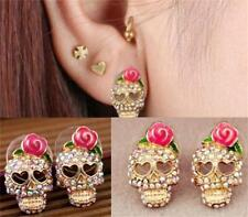 Punk Crystal Skull Grim Reaper Rose Flower Love Ear Studs Earring Skeleton JT25
