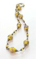Vintage Yellow Wedding Cake Lampwork Art Glass Bead Necklace JL20BN91