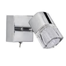 SEARCHLIGHT 1 LIGHT ICE CUBE GLASS CHROME WALL LAMP FITTING BRACKET SPOTLIGHT