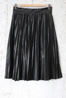 Lucy Paris Tasha Faux Leather Pleated Skirt