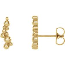 14k yellow gold beaded ear climber earrings.