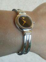 "Movado Swiss Harmony Diamond Bangle Watch 97 A1 809 AS Twotone 6.5"" Wrist New Ba"