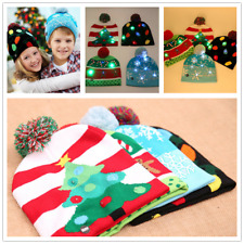 Christmas Hat Beanie Colours Cap Xmas Knitted Kids LED Light Adults Lovely Gift