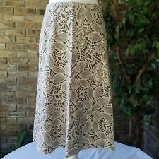 Charter Club Lined Skirt Linen Rayon Size 8 A Line Brown Cream Flare