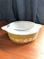 VINTAGE PYREX 471 Crazy Daisy Spring Blossoms Round Casserole Bowl w/ 470-C Lid!