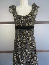 Betsey Johnson Evening Dress Sz 10 Black Gold Lace Velvet Cocktail Event Holiday