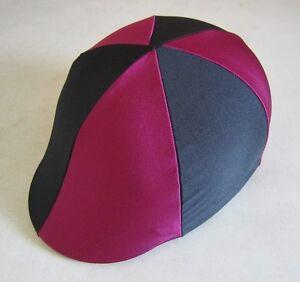 Horse Helmet Cover ALL AUSTRALIAN MADE Burgundy & Black Any size you need
