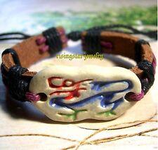 Cool Mythology Protective Dragon Fashion Surfer Leather Bracelet Wristband