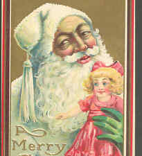 SCANDINAVIAN STYLE SANTA,FATHER CHRISTMAS IN WHITE CAP,LARGE TOY DOLL,POSTCARD