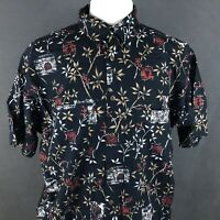 Tommy Hilfiger Asian Inspired Print Button Up Shirt Size XL Bamboo VTG 90s