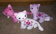 Stuffed animal plush cats white pink purple hearts, make good gifts very cute