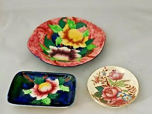 Antique Maling  Ware England Embossed Peony Rose Pin Dishes 3x Floral  Design