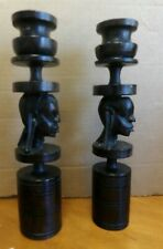 Heavy Carved Wooden African Made Candlesticks Marked Made in Kenya