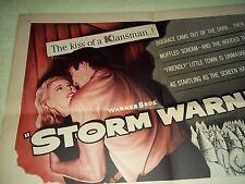 """Storm Warning"" Half Sheet Rare Original Ginger Rogers, Ronald Reagan, Doris Day"