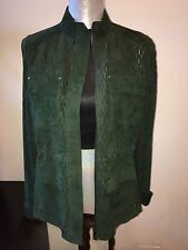 NEW ELIE TAHARI GREEN LEATHER SUEDE JACKET COAT SIZE M