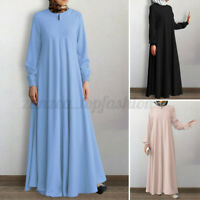 Women Muslim Abaya Full Length Long Sleeve Crew Neck Solid Maxi Shirt Dress Plus